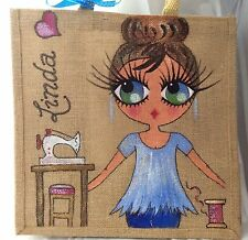 Personalised Handpainted Jute Crafters Celebrity Bag - With Sewing Machine