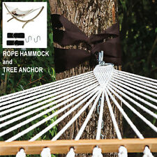 Hanging Tree Strap + Outdoor Camping Cotton Double Bed Patio Rope Hammock