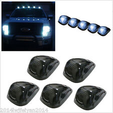 5x Smoked Lens+White LED Light Truck SUV Off Road Cab Roof Running Marker Lights