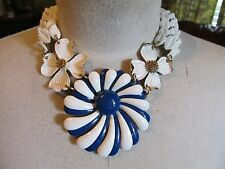 Vintage Enamel Flower Brooch Large Statement Necklace- A Repurposed Original!!