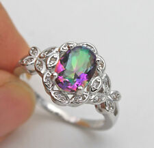 18K White Gold Filled- Oval MYSTICAL Topaz Butterfly Cocktail Women Ring Size 10