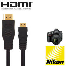 Nikon D3200, D5300, D7100 Camera HDMI Mini TV 5m Long Gold Cord Wire Lead Cable