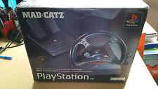 Sony Playstation 1 PS1 PS2 Oficial Mad Catz arrastre de rueda + Pedales En Caja