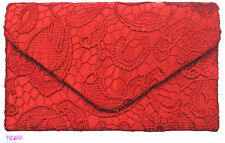 Ladies Red Satin & Lace Envelope Style Box Clutch Bag Evening Wedding Prom