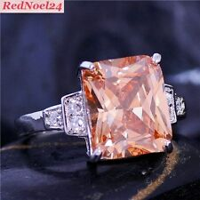 Belle Emerald Cut Morganite & White Topaz 925 Silver Hallmarked Ring Sz 8 - P