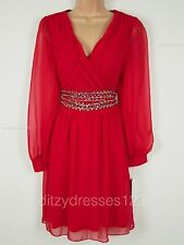 BNWT So Fabulous Red Chiffon Jewel Waist Special Occasion Wrap Dress Size 16