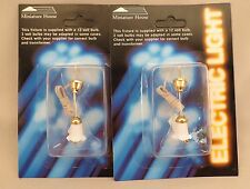 Dollhouse Miniature House White & Gold Tulip Hanging Lights Lamps Lot of 2 NIP