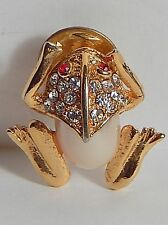 VINTAGE FROG TOAD PEARLY JELLY BELLY TAC PIN RHINESTONES PEARLY GOLDTONE/PLATE