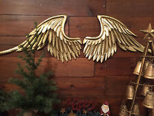 Metal Gold Angel Wings Hanging Wall Decor Rustic Vintage Set