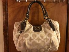 COACH MADISON  GOLD/TAN OPTICAL ART LUREX ABIGAIL TOTE HANDBAG 18639