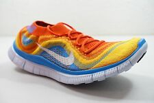 MENS NIKE FREE FLYKNIT+ SHOES SIZE 9 orange white blue 615805 818 MSRP $160.00