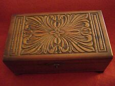 Vintage Wood Jewelry Whatnot Box with Carved Top & Brass Latch - Distressed Look