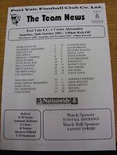 26/10/2002 Teamsheet: Port Vale v Crewe Alexandra (folded). Thanks for taking th