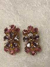 Christian Dior Pink & Lavender Crystal Rhinestone Clip Earrings