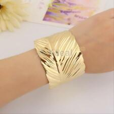 Women Leaf Shape Gold Plated Cuff Bracelet Bangle Party GIft Alloy Jewelry