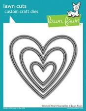LAWN FAWN LAWN CUTS CUSTOM CRAFT DIE STITCHED HEART STACKABLES LF1025