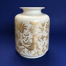 "5.5"" Lorenz Hutschen Reuther Porcelain Vase Germany Gold on White Vintage Mint"