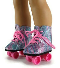 "Rainbow Glitter Rollerskate Shoes made for 18"" American Girl Doll Clothes"
