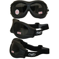 Big Ben Black Frame Motorcycle Goggles with Shatterproof Smoke Lenses