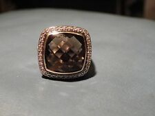 David  Yurman SS 18K 14MM Smoky Quartz & Diamonds Ring Size 8