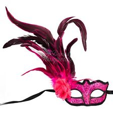 Pink Fashionable Venetian Feather Mask with Rose - Neon Color Masquerade Mask