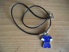 Costume jewellery Football Strip Blue and White locket on thong Chelsea