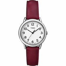 Timex T2N952, Women's Red Leather Strap Watch, Indiglo, T2N9529J