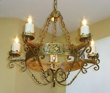 Vintage Gothic Renaissance CHANDELIER Gold Gilt Candelabra Five Arm Light Lamp