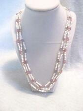 "24"" Necklace 3 Strands Small Acrylic Beads White & Pastel Gold Tone Accents"