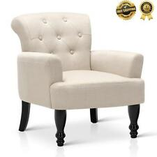 LORRAINE Wing ARMCHAIR Retro Sofa Vintage French Linen Fabric Amber Taupe