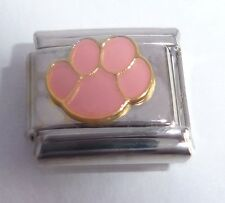 PAW PRINT Italian Charm - 9mm PINK I Love my Dog Cat Pet fits Classsic Bracelets