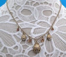 PILGRIM Rare Vintage Swarovski Crystals and Enamel Babushka and Bloom Necklace