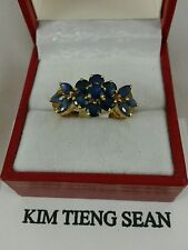 Natural blue Sapphire 14K Solid Yellow Gold  Ring - Women 3.2 Grams size 8