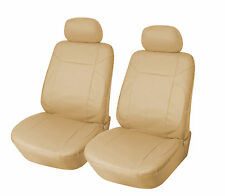 Leather like Two Front Car Seat Covers For BMW 159 Tan