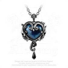 Alchemy of England Affaire du Coeur Pendant Heart Skulls Crystal Teardrop