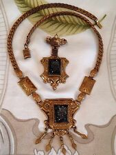 Antique Victorian Jet Intaglio Set Demi Parure Necklace & Brooch Gold Filled