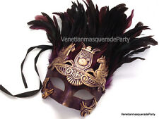 Mens Masquerade Ball Mask Thor Mask Gold Feather Roman Gladiator Bachelor Party