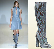 NEW GUCCI CAMPAIGN $3500 PYTHON HORSEBIT KNEE HIGH BOOTS BLUE BROWN 37 - US 7.5