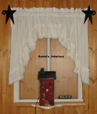 """White Ruffled Swag Valance Curtain  82"""" Wide x 36 Long"""