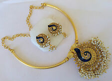 South Indian Traditional Jewellery gold tone design peacock necklace set earring