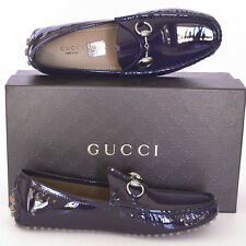 GUCCI New sz 36.5 G - 7 Horsebit Designer Purple Womens Drivers Flats Shoes