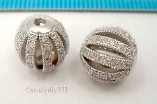 1x Rhodium plated STERLING SILVER CRYSTAL MICRO PAVE ROUND SPACER BEAD #2415
