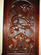 Antique Carved Griffin/Dragon Gothic Panel Oak 19th C. French Black Forest Style