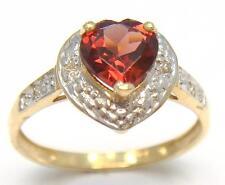 NEW 10KT YELLOW GOLD HEART CUT GARNET & DIAMOND RING  SIZE 7   R969
