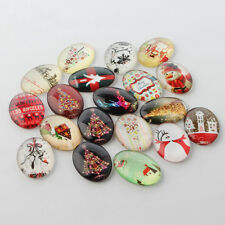 20pcs Festival Christmas Theme Xmas Decorations Glass Oval Flatback Cabochons