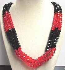 "Vintage 70's Long 27"" Glass Crystal Bead Necklace Multi 3 Strand Red Black"