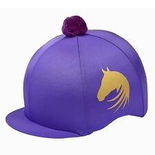 LYCRA RIDING HAT SILK FOR JOCKEY SKULL CAPS GOLD HORSE HEAD BLACK PURPLE PINK