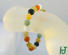 14k Multi-Color Jade Beads Bracelet with Chinese 福 (Happiness) Clasp