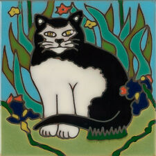 Handpainted ceramic tile Tuxedo Cat painting trivet backsplash mosaic install