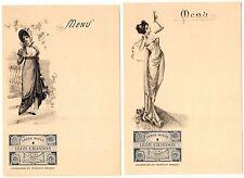 MENU CARDS (2) PAIR LEON CHANDON CHAMPAGNE ART NOUVEAU